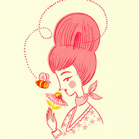 Miss Beehive - Limited Edition Gocco Screenprint