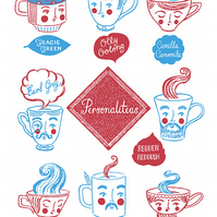Screenprinted Cotton Personaliteas Tea Towel for ToDryFor by Moira Millman
