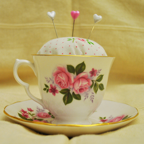 pin cushion tea cup