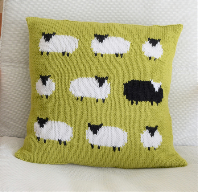 Knitting Pattern for a Sheep Cushion using Aran or Worsted Wool