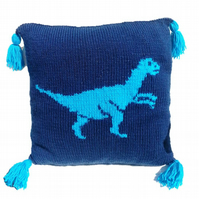 Dinosaur Pillow Velociraptor Knitting Pattern, Cushion Knitting Pattern Dinosaur