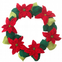 Knitted Poinsettia Christmas Wreath, Knitting pattern for poinsettias, Christmas