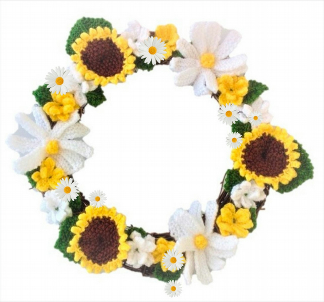 Knitting pattern for Summer Flowers Wreath, Knitted Daisies and Sunflowers Ring