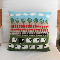 Sheep and Poppies Cushion Knitting Pattern, Pillow Knitting Pattern with Sheep