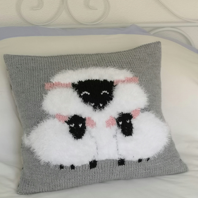 Knitting Pattern for Sheep Cushion using Aran or Worsted Wool