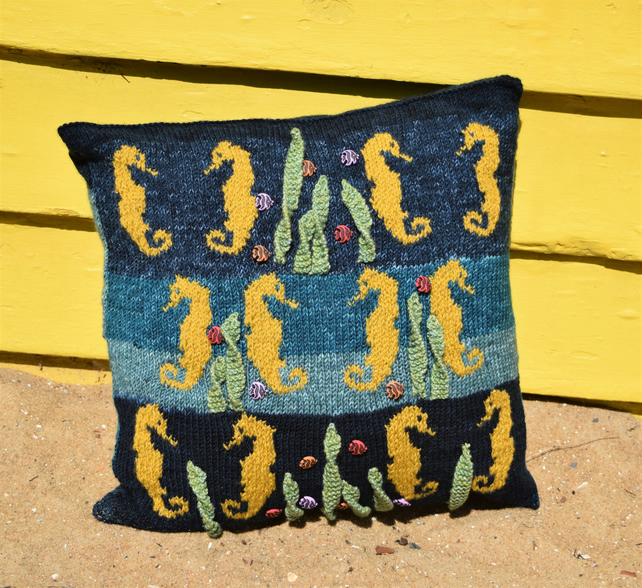 Knitting Pattern for a Sea Horse Cushion, Pillow Knitting Pattern with Sea Horse