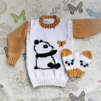 Aran Knitting pattern for girls with Panda and Butterfly Sweater and Mittens