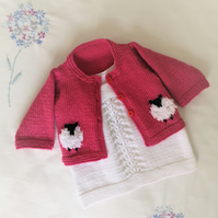 Knitting Pattern for Baby Sheep Cardigan and Dress, Sheep Jacket and Lace Dress