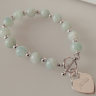 Personalised Sterling Silver Heart Charm and Green Amazonite Bracelet