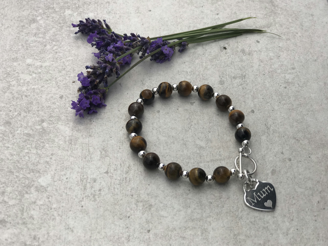 Tigers Eye - Gemstone and Sterling Silver Bracelet - Personalised