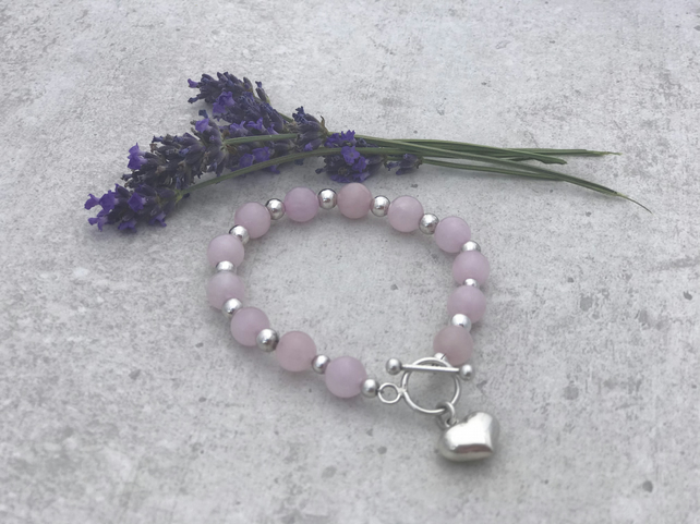 Rose Quartz and Sterling Silver Gemstone Bracelet