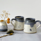 Handmade ceramic mug with hares, blue and white mug for coffee tea ...