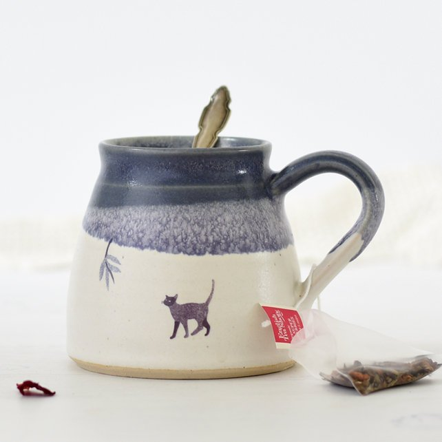 Handmade ceramic cat mug - blue and white ceramic coffee tea mug