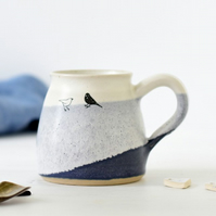 Handmade blue and white ceramic mug with birds - blue and white pottery