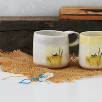 Ceramic mug with fairy tale scene - The Grasshopper by Hans Christian Andersen -