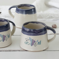 Blue and white coastal seaside mug, handmade ceramic coffee and tea mug