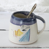 Blue and white handmade seaside mug, coastal ceramic coffee and tea mug