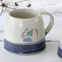 Handmade blue and white seaside mug, coastal ceramic coffee and tea mug