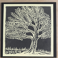 3 x Handprinted original tree cards