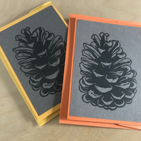 2 x Handprinted original pinecone cards