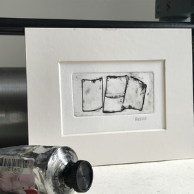 Out to dry, Small abstract black and white collagraph print