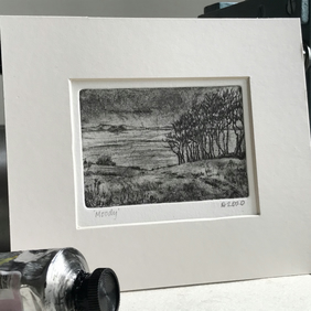 'Moody'  A small black and white drypoint print