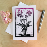 Orchid in a pot, handprinted original card