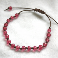 Rose Pink & Brown Macrame Style Bracelet (5mm Beads)