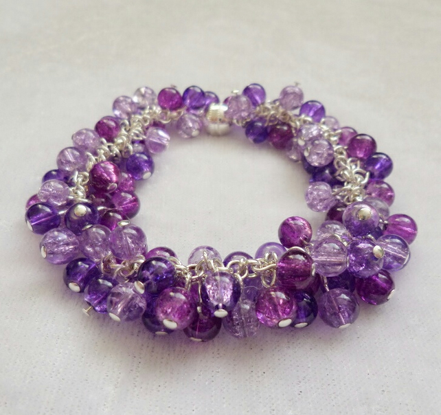 Purple Silver Plated Cluster Bracelet