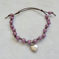 Violet  Knot Bracelet with Heart Charm