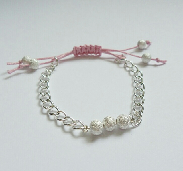 Pink Macrame with Silver Plated Chain