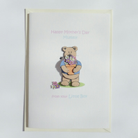 Mother's Day Mummy Card from your little boy Flowerpot Bear