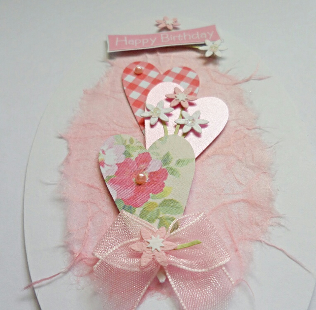 Pink Happy Birthday Hearts Card Topper
