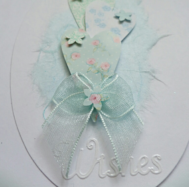 Pale Blue Best Wishes Hearts & Flowers Card Topper