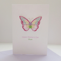Mother's Day Mum card - Pink & lilac  button butterfly