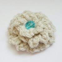 Cream Wool Flower Brooch with Turquoise Blue Bead