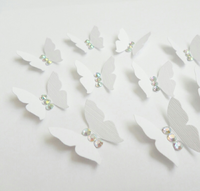 White Butterfly Shape with Rhinestone AB Crystal Gems (pack of 10 Butterflies)