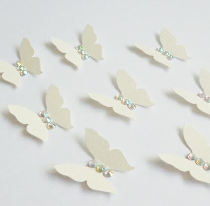 Cream Butterfly Shape with Rhinestone AB Crystal Gems (pack of 10 Butterflies)
