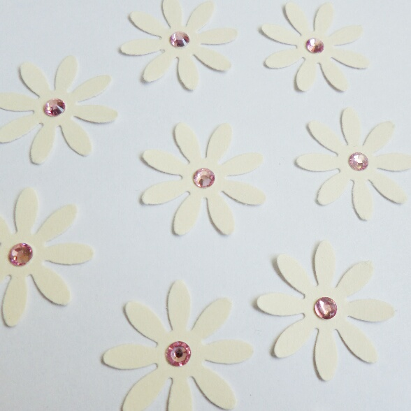 Flower Paper Shapes with Rhinestone Gems - pack of 10 Flowers - Cream & Pink