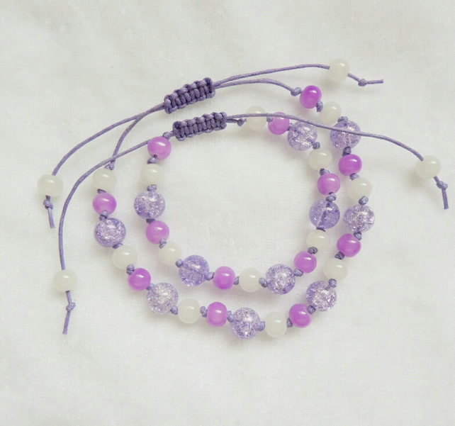 Mother & Daughter - Lilac & White Macrame Style Bracelets