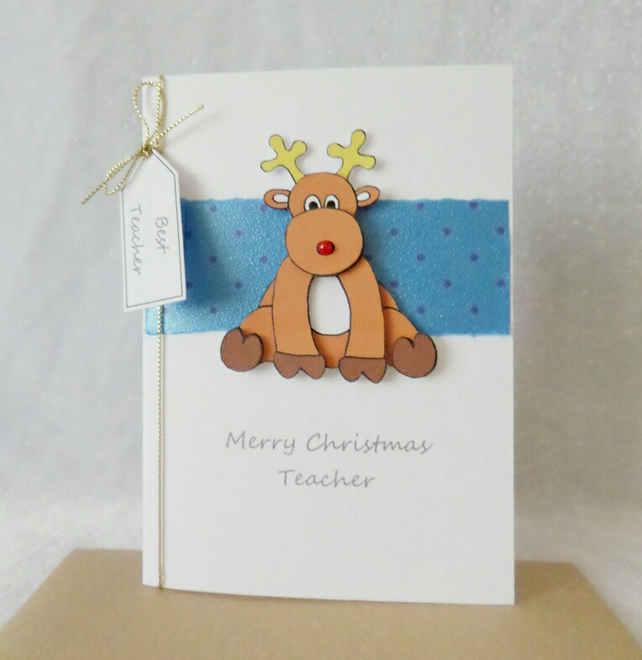 Christmas Teacher Card Reindeer