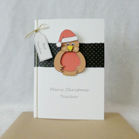 Christmas Teacher Card Robin with Santa hat