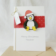 Christmas Teacher Card Penguin with Santa hat