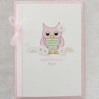Pink Cute Owl Card - Happy Birthday Mum