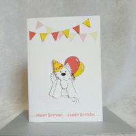 Party Westie Birthday Card - Red and Yellow