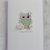 Happy Birthday Cute Owl Card - Lilac