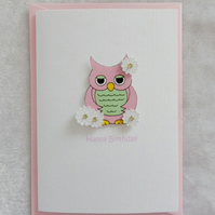 Happy Birthday Cute Owl Card - Pink