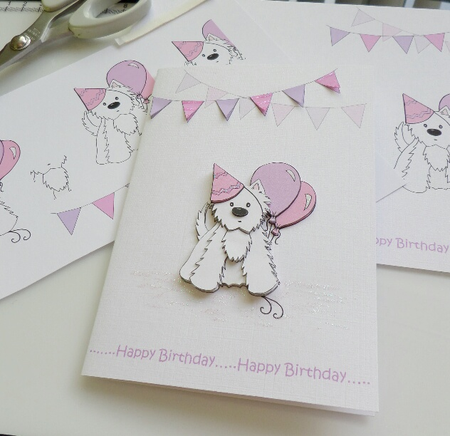 Party Westie Birthday Card Pink And Lilac Folksy