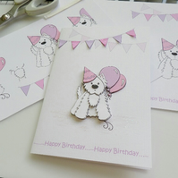 Party Westie Birthday Card - Pink and Lilac