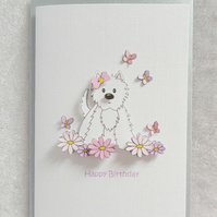 Flower Westie Birthday Card - Pink and Lilac